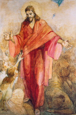 Jesus Christ in Red Robe Painting
