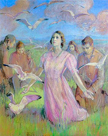 Pioneer paintings - Minerva Teichert Miracle of the Gulls
