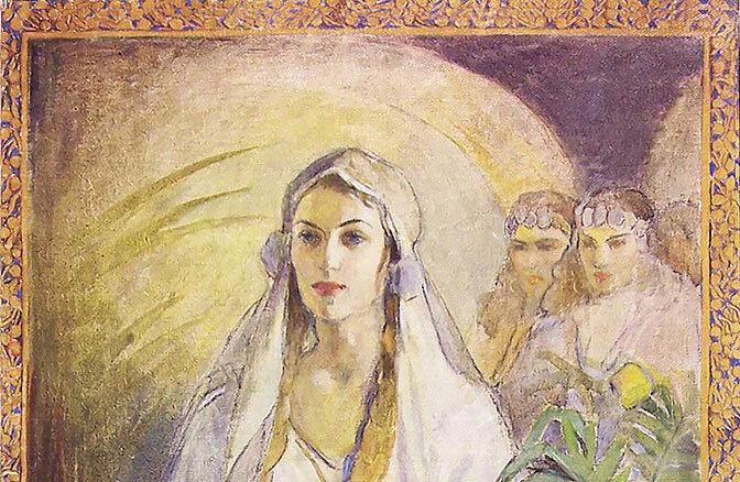Canvas painting of Queen Esther from LDS Artist Minerva Teichert
