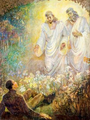 Minerva Teichert paints Josephs First Vision - LDS canvas
