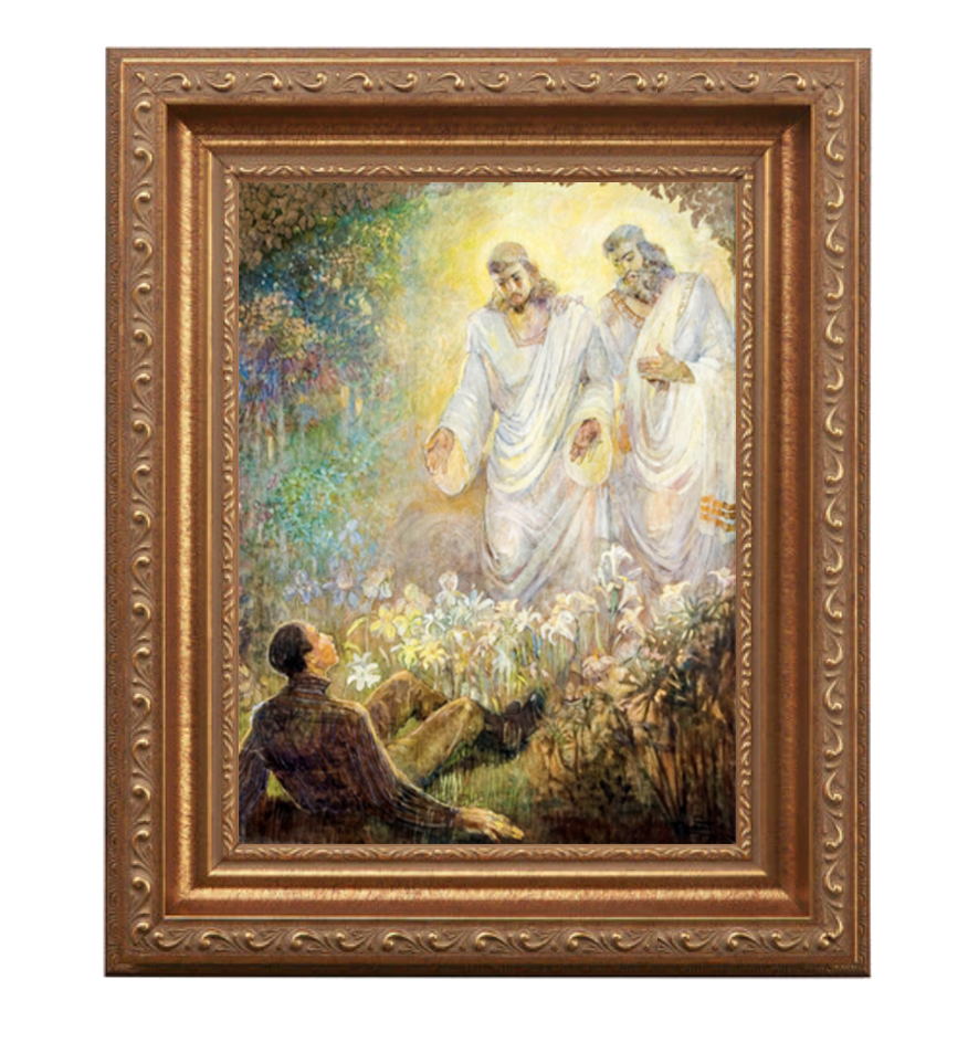 LDS canvas of Josephs first vision in antique gold frame