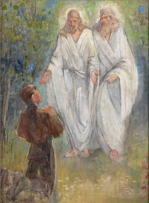 Painting of Joseph Smith's First Vision in the Sacred Grove by Minerva Teichert