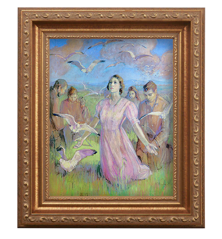 Minerva Teichert Miracle of the Gulls set in antique gold frame