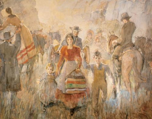 Pioneers Arriving - Minerva Teichert Art lds mormon.png