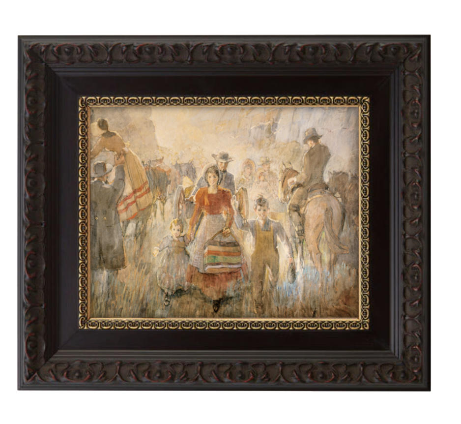 Pioneers arriving brushed mahogany and gold frame.png