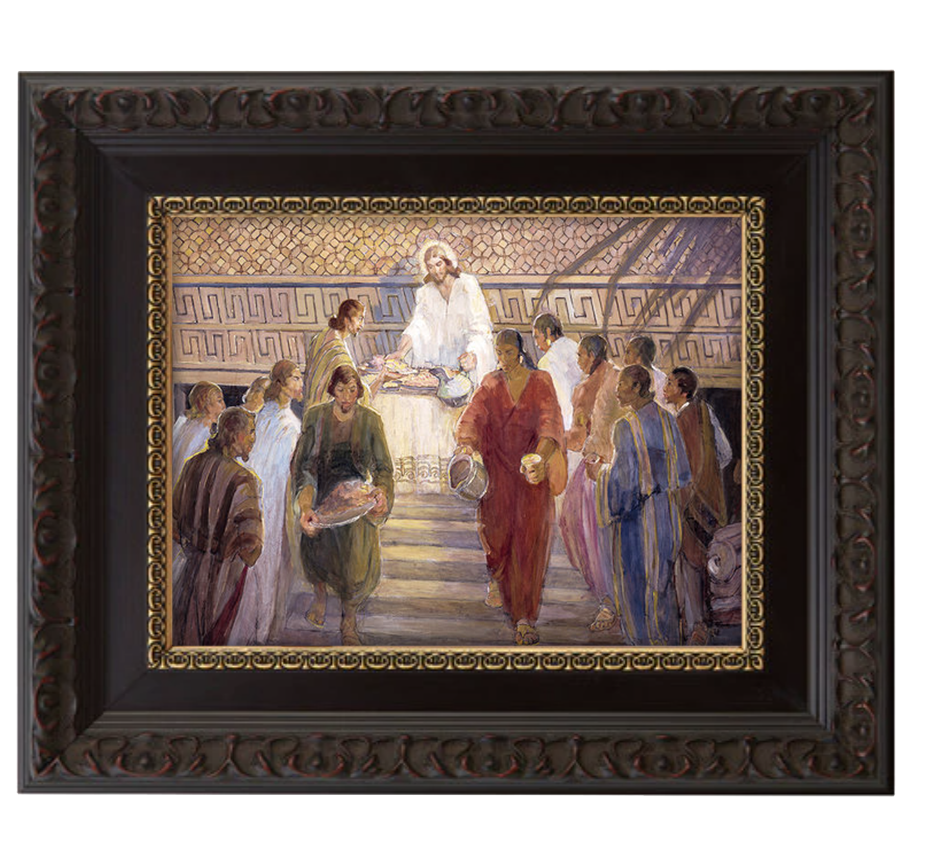 christ blesses the nephites brushed mahogany and gold frame.png