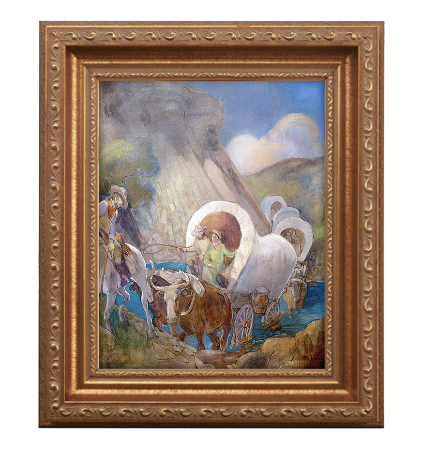 covered wagon pioneers antique gold frame.png