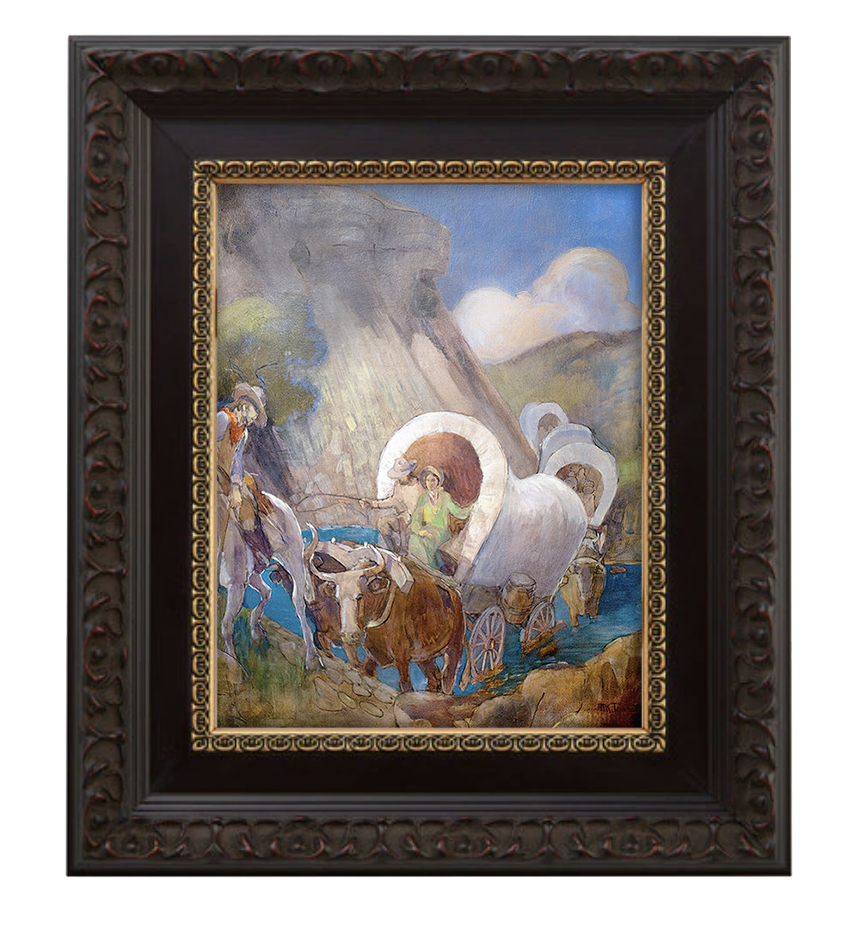 covered wagon pioneers brushed mahogany and gold frame.png