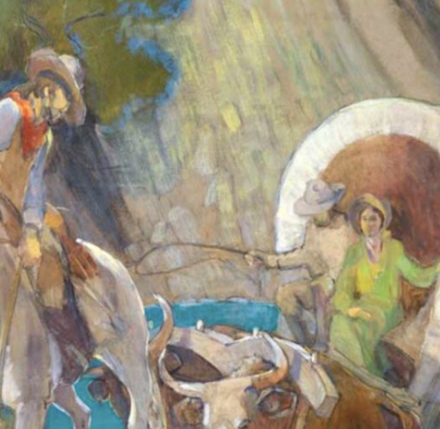 covered wagon pioneers minerva teichert canvas art.png