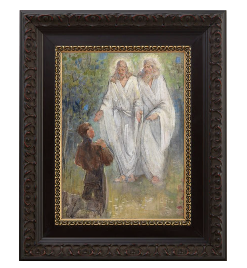 first vision brushed mahogany and gold frame.png
