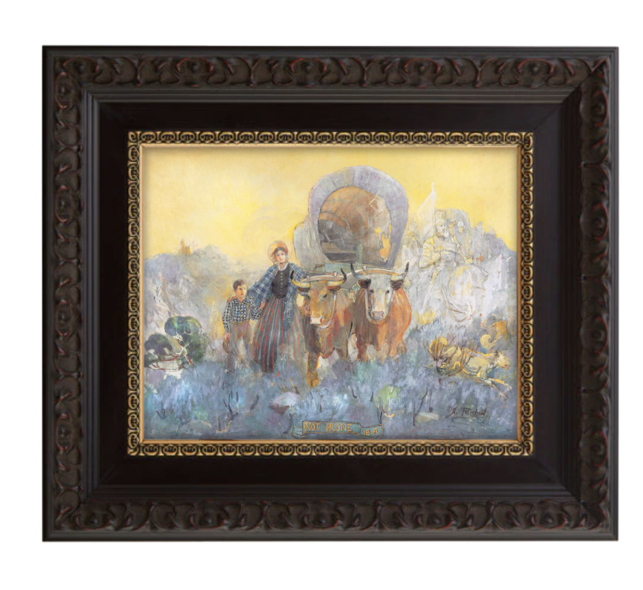 not alone brushed mahogany and gold frame.png