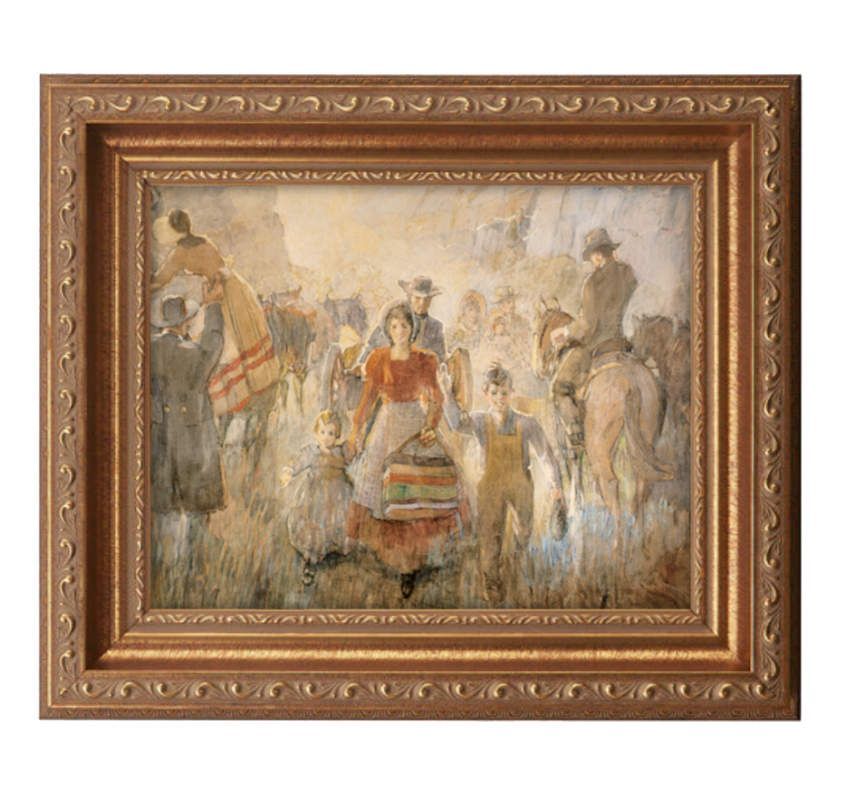 pioneers arriving antique gold frame.png