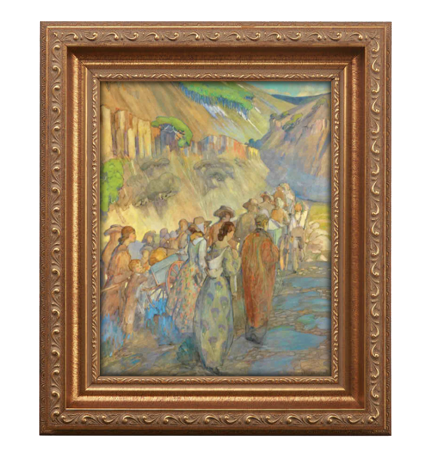 pioneers entering the valley antique gold frame.png